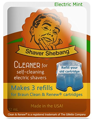 4 Pack Shaver Shebang Mint Cleaner. Makes 12 Compatible Refills for Braun Clean & Renew cartridges - Made in USA -  Organek Living, SS-CL-MIN-2x0965