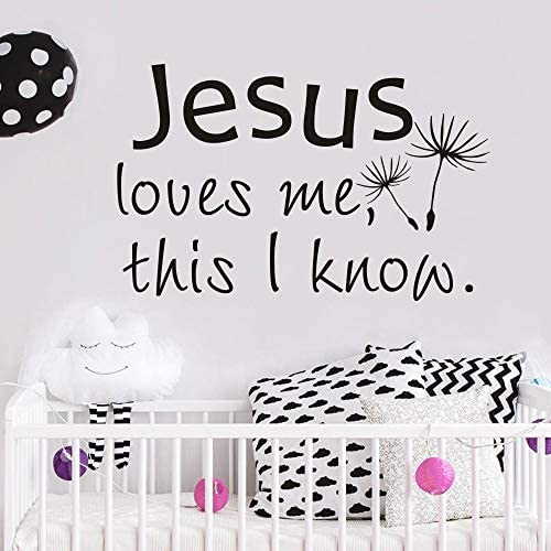 FlyWallD Christian Baby Room Vinyl Wall Art Quote Decal Sticker Jesus Loves Me This I Know product image