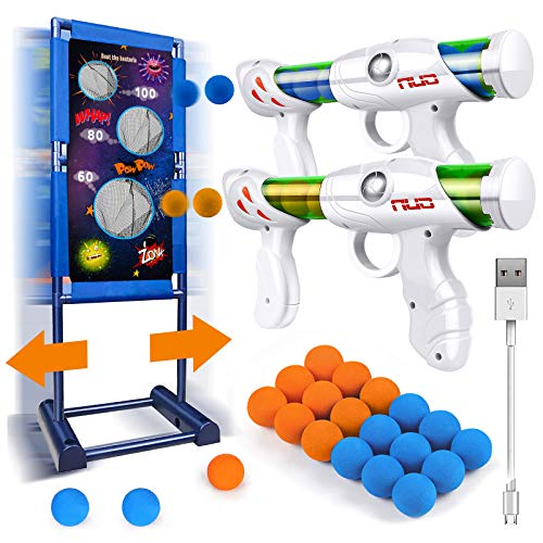 Gun Toy Gift for Boys Age of 4 5 6 7 8 9 10 11 12 Years Old Kids Girls Perfect Present for Birthday Children#039s Day with Moving Shooting Target 2 Blaster Gun and 18 Foam Balls Compatible with NERF Gun