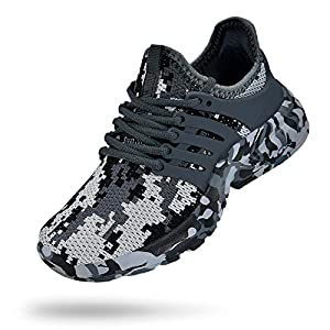 Troadlop Boys Sneakers Lightweight Lace up Athletic Casual Walking Boys Athletic Shoes Camouflage Grey Size M US 4 Big Kid