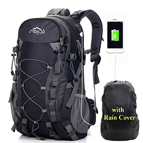 A AM SeaBlue 40L Wanderrucksäcke Männer Tagesrucksack Damen Trekking Rucksäcke Leicht Outdoor Sport Taschen mit USB Port,Hiking Backpack für Travel Camping Daypack mit wasserdichte Regenschutz