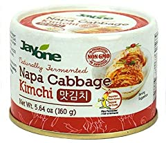 1 Pack of Jayone Korean Canned Kimchi Perfect size for 1 serving (5.64oz) SHELF STABLE- Naturally fermented Napa Cabbage Kimchi now in a can! Non-GMO, No preservatives, No Additives and rich in Pro Biotics **Contains: Shrimp and Anchovy