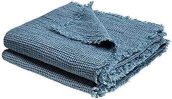 Honeybee-Plaid – mjuk filt av linne – enfärgad vävd pläd med fransar av naturmaterial – av 'zoeppritz since 1828'