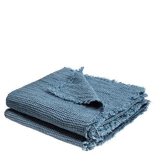 Honeybee-Plaid – weiche Decke aus Leinen – einfarbig gewebtes Plaid mit Fransen aus Naturmaterialien – 170x230 cm – 545 denim – von 'zoeppritz since 1828'