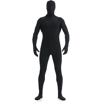 (YUUWA)全身タイツ 着ぐるみ 開口部のない ユニセックス 変装コスチューム ブラック 女性S ハロウイン