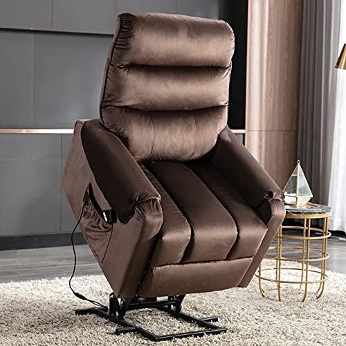Keebgyy - Sedia reclinabile per anziani divano elettrico reclinabile con meccanismo di sicurezza e movimento reclinabile per divano, soggiorno, con tasca laterale, funzionale, con telecomando