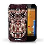 Custodia/Cover Rigide/Prottetiva STUFF4 stampata con il disegno Disegno animale aztec per Motorola MOTO G (2013) - Scimmia-rosso