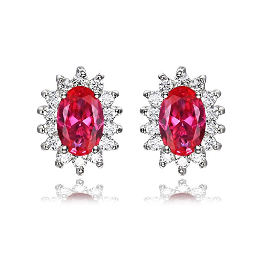 Jewelrypalace Gemstones Birthstone 1.5ct Created Ruby Stud Earrings For Women 925 Sterling Silver Earrings For Girls Princess Diana William Kate Halo Earrings