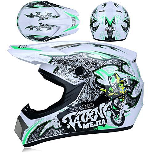 JWL Motocross-Helm (mit Brille, Handschuhen, Maske), Enduro MTB Helm Fullface Fahrrad Helm Cross Helm Motorradhelm Für Downhill Bike ATV BMX (weiß Grün,S)