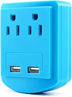 USB Wall Charger,Surge Protector,Multiple Plug Socket Splitter,2-AC Electrical Outlets Mount Adapter with Dual Charging USB Ports(2.4 Amp Total) Sky Blue