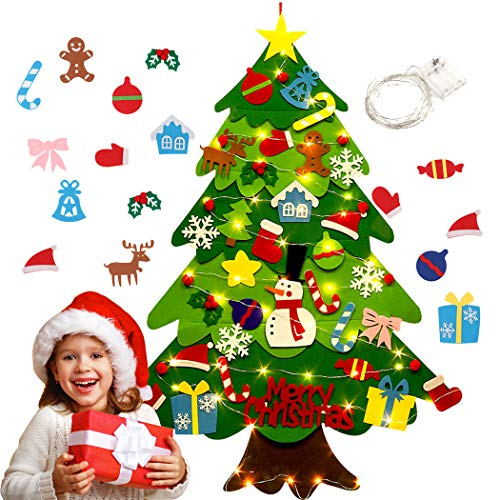 Bageek Christmas Tree, Felt Christmas Tree for Todders DIY Felt Tree with 33pcs Ornaments for Kids Christmas Decoration