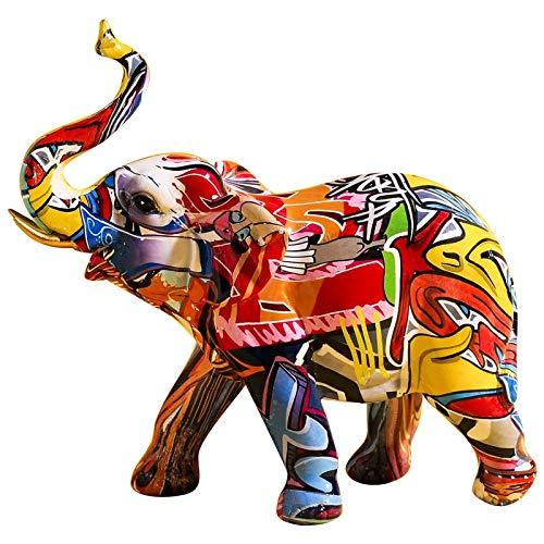 LKXZYX Estatua de Elefante Pintado de Resina nórdica, decoración del hogar, Sala de Estar, Armario de Vino, estatuilla de Animal, Escultura, Arte Moderno, decoración Artesanal