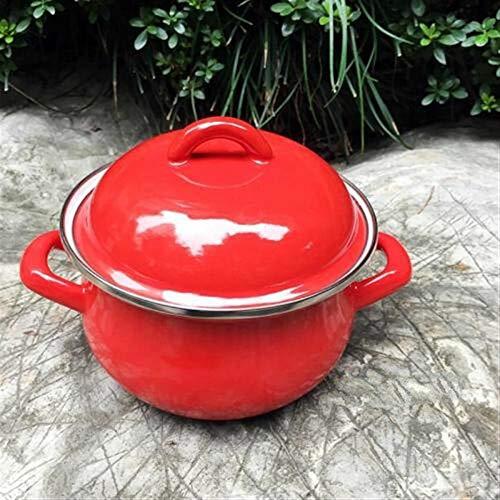 NO LOGO JNT- Marmite Pots de Cuisine et poêles Pot en Porcelaine émaillée Vaisselle chaudrons cuisinière à Induction Hot Pot for Les ustensiles de Cuisine pan (Couleur : 1.3L, Taille : Rouge)