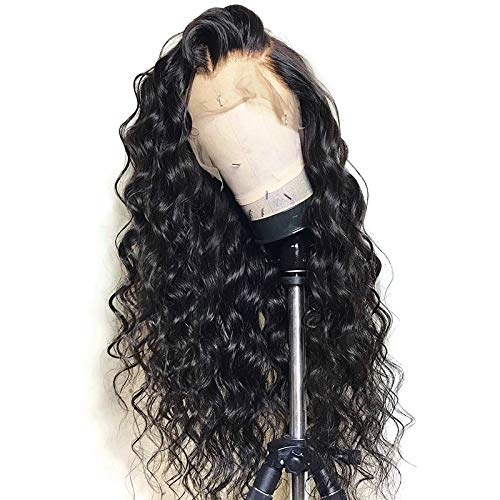 Cosswigs Loose Wave 360 Perücke with Baby Hair Glueless Brazilian Remy Human Hair Wigs for Black Women 130 Density 360 Lace Frontal Wig Natural Color 18inches