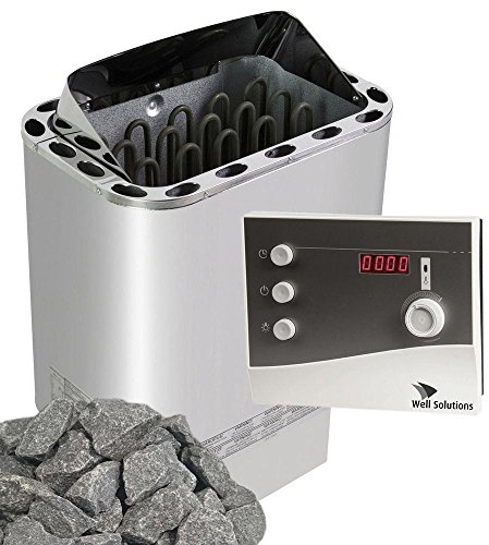Well Solutions Saunaofen Edelstahl Next 4,5 kW/Externer Sauna Steuerung K2 genannt mit Zeitvowahl/Original Marke Well Solutions®