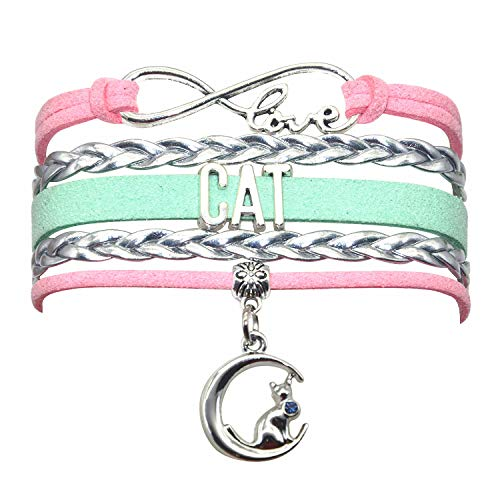 HHHbeauty Kitten Cat Bracelet Jewelry Infinity Love Cat Lover Gifts Cat BFF Jewelry Bracelet Gifts for Women, Girls, Men, Boys, Cat Owner Gifts, Cat Themed Gifts (Pink Silver and Mint Green)