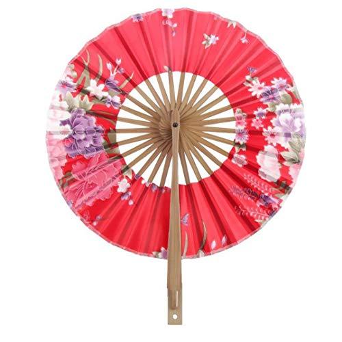 Floral plegable ventilador de la mano de bambú de seda japonesa cereza del molino de viento fan redonda Vintage Fan Dance de favores de la boda del regalo, decoración del hogar del ventilador (Rojo)
