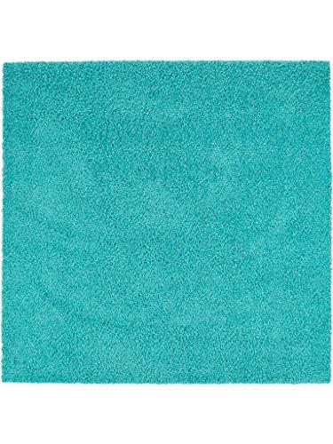 benuta Hochflorteppich Swirls Shaggy Langflor Türkis 60x60 cm Kunstfaser schadstofffrei Alfombra, Turquesa, 60 x 60 cm
