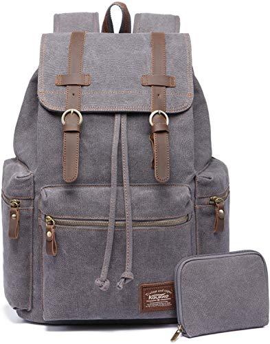 Vintage Rucksäcke,Kaukko Canvas Laptop Rucksack Damen Herren Schulrucksack Daypack Stylisch Backpack für Outdoor Wanderreise Camping mit Großer Kapazität (Grau 702-1)