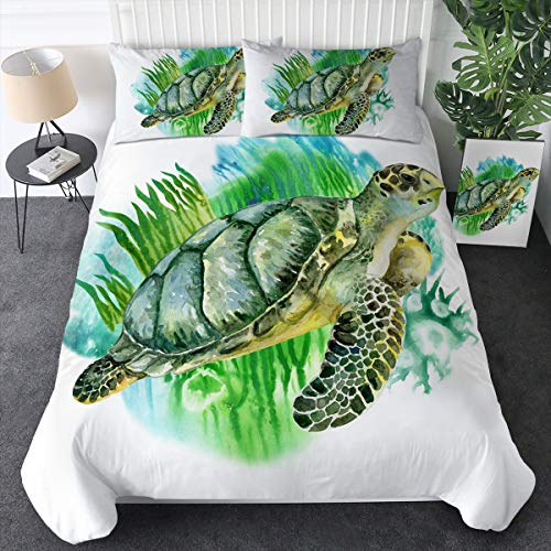 Sleepwish Sea Turtle Duvet Cover Queen Size Green Ocean Theme Bedding Set with 2 Pillow Shams 3 Pieces Watercolor Marine Animal Print Bedspreads for Teen Boys