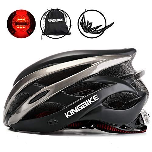 KING BIKE Fahrradhelm Helm Bike Fahrrad Radhelm mit LED Licht FüR Herren Damen Helmet Auf Die Helme Sportartikel Fahrradhelme GmbH RennräDer Mountain Schale Mountainbike MTB L(56-60CM)