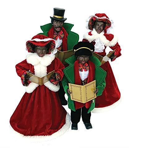 Santa's Workshop 15-18' Black Christmas, Set of 4 Caroler, RED