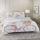 YUAZHOQI Juego de funda de edredón de 3 piezas para bicicleta, diseño de acuarela de una bicicleta rosa con flores, romántica vintage Art Premium lavado microfibra edredón funda y 2 fundas de almohada