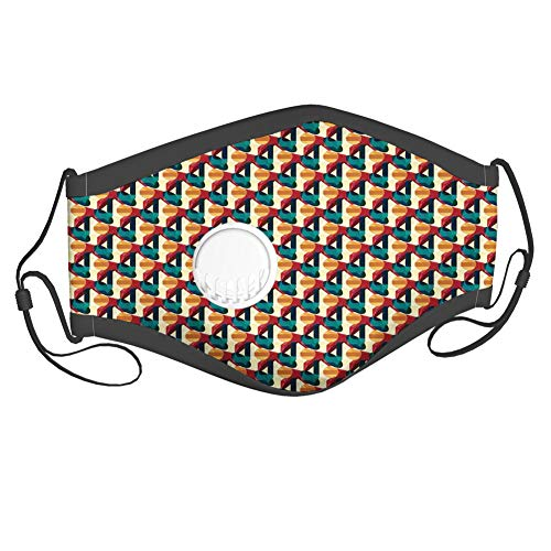 Moda 3D Face Protect impreso, composición poligonal retro con tecnología de diseño futurista de malla viva, con 6 filtros