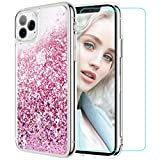 Maxdara Glitter Liquid Case for iPhone 11 Pro Case for Women Girls (Screen Protector) Bling Shiny Sparkle Luxury Pretty Soft TPU Phone Case for iPhone 11 Pro 5.8 inches (Rosegold)