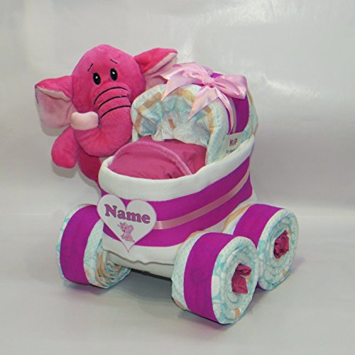 "Windeltorte - Windelkinderwagen XL-Reifen""Herz"" + Elefant pink"