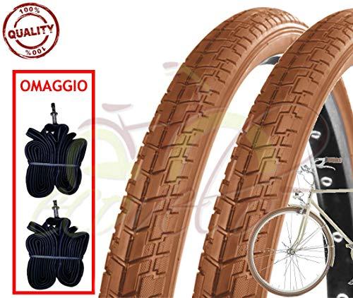 Deestone EBA28MCD Kit 2 Due COPERTONI + 2 Due CAMERE Bici Vintage Epoca 700 x 35 (28 x 1 5/8 3/8) Marrone (Brown) Slick Stradale