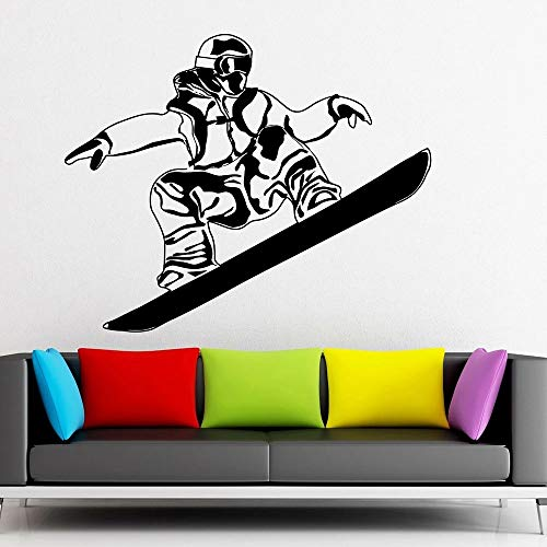 Calcomanías de pared de esquiador calcomanías de vinilo para ventana de snowboard deportes extremos nieve arte de invierno para adolescentes decoración de la pared del dormitorio