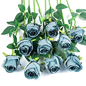 Flojery 10pcs Artificial Rose Flowers Long Stem Fake Silk Roses for DIY Wedding Bouquet Table Centerpiece Home Decor