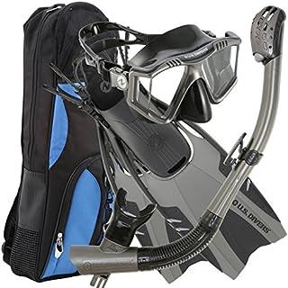 U.S. Divers Lux Platinum Snorkeling Set - Panoramic View Mask, Pivot Fins, GoPro Ready Dry Top Snorkel + Gear Bag, Gun Metal, LG/XL (Men 9-13, Women 10-14) (253618)