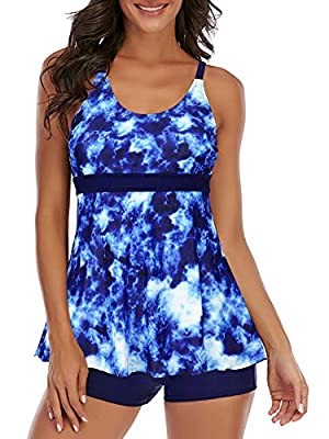 Womens Tankini Swimsuits Two Piece Swimsuits Boyshorts Bathing Suits Plus Size Swimming Suit Athletic Swimwear Dyeing Blue 6-8