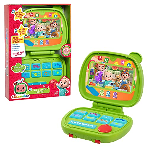Cocomelon Sing and Learn Laptop Toy for Kids, Lights, Sounds, and Music Encourages Letter, Number, Shape, and Animal Recognition, by Just Play