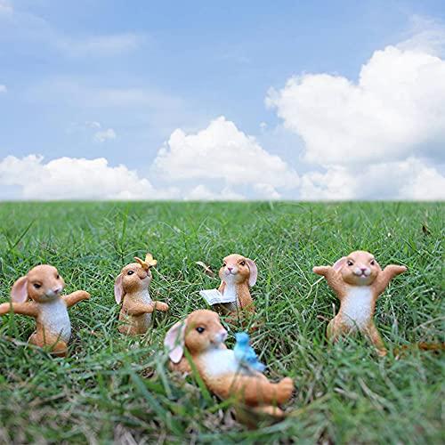 AIITLLYNA Mini Coniglietti,5 Set di Figurine Coniglio,Decorazione di Pasqua di Coniglio,Statua Coniglio da Giardino,Coniglietto Pasquale in Resina per la Decorazione Torta Topper & del Giardino