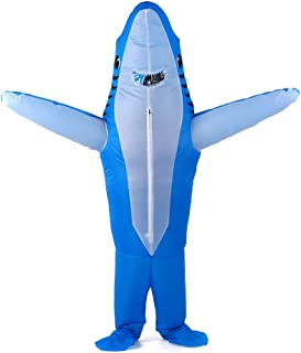 Goolsky Adults Blue Shark Inflatable Costume Props Blow Up Inflatable Fancy Dress for Halloween Cosplay Party Stage Perfor...
