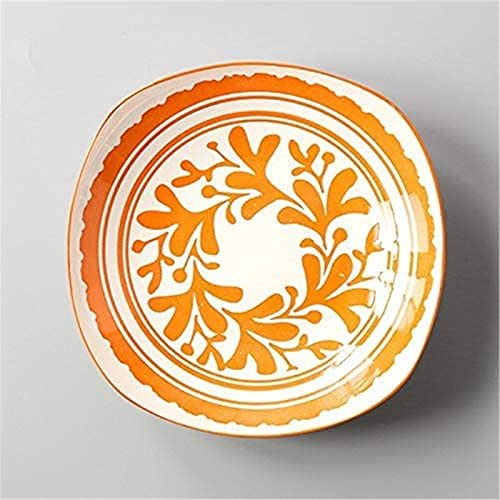 Juego de Platos, Cena de cena conjuntos europeo estilo simple estilo japonés estilo japonés placa de glaseado de cerámica debajo del plato plato placa naranja yisi placa cuadrada profunda 19.6x4.5cm