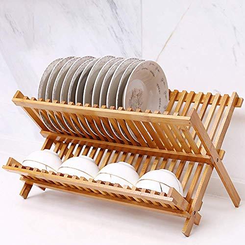 ZWMM Besteckhalter Geschirrtrockner Holz, Bambus 2 Tier Geschirrtrockner, zusammenklappbares Geschirrablaufregal Bester Geschirrhalter Geschirrablaufgestell für Küchenarbeitsplatte