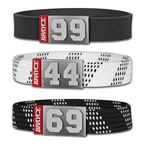 BRAYCE® Eishockey Armband mit Deiner Trikot Nummer 00-99 I Schnürsenkel & Puck Style I Eishockey Trikot für's Handgelenk personalisierbar & handgemacht