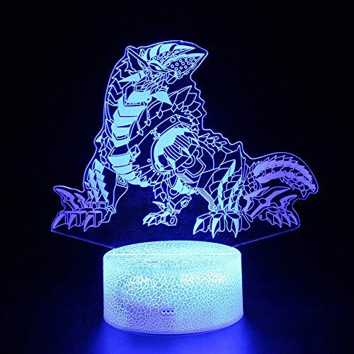 Yvonnezhang Kinder led Lichter Spielzeug Dinosaurier RGB Farbe USB Lampe Geschenke 3D nachtlicht Illusion Monster jäger Monster Drachen Figur Lampe, 7 Farbe Touch Fernbedienung