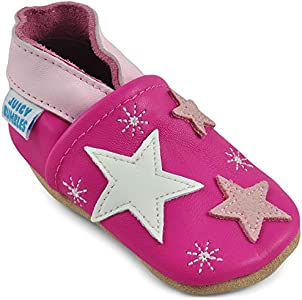Zapatos Bebe Niña - Zapatillas Niña - Patucos Primeros Pasos - Estrellas Rosas - 0-6 Meses