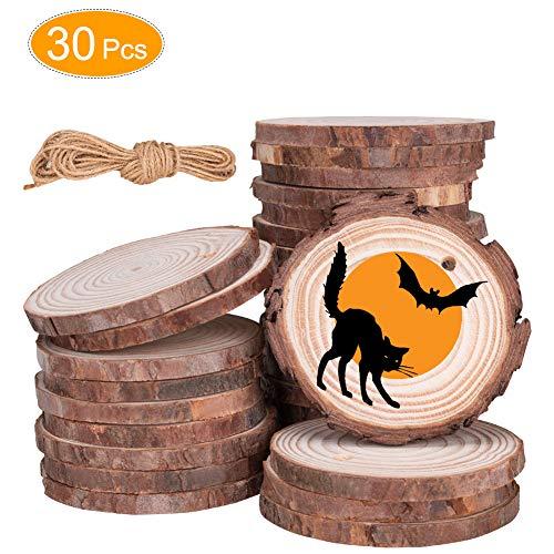Linkax Holzscheiben 30 Stück Holz Log Scheiben 6-7cm mit Loch Unvollendete Holzkreise für DIY Handwerk Holz-Scheiben Hochzeit Mittelstücke Weihnachten Dekoration Baumscheibe