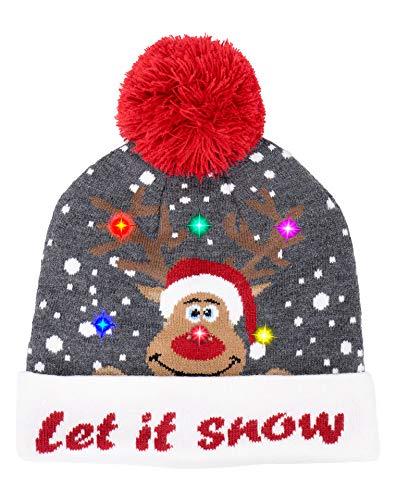 NOROZE Unisex LED Licht Mütze Herren Beanie Damen Winter Kappe Neuheit Weihnachten Santa Weihnachtsmann Elf Rentier Hut Beanie (Let it Snow Grau)