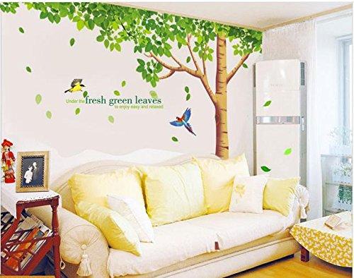 Rainbow Fox arbre Sticker mural Sticker mural pour séjour avec reproduction-Arbre à feuilles vertes