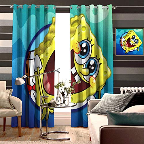 Blackout Curtains,Spongebob Squarepants (27), Grommet Top Thermal Insulated Darkening Window Drapes for Bedroom, Cute Animal Boys Girls Room Décor, 2 Panels,72x84 inch