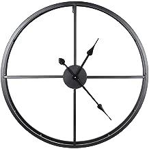 SOQNQ 60cm Grande horloge murale pendaison décorative montre Pour le décor de Bureau à la Maison Style européen 3D circulaire rétro pendaison murale montre horloges @ Noir