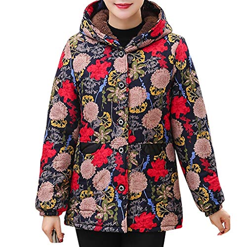 Big Save! RUIVE Women's Vintage Floral Print Coats Winter Warm Thicken Fluffy Hooded Button Cardig...