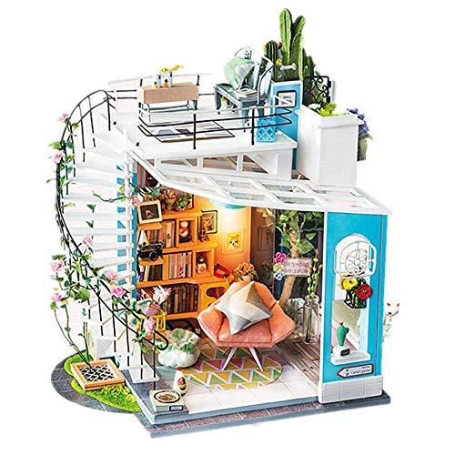 Taoke DIY Miniatur-Puppensatz, DIY Gebäude Modell Puppenhaus Kit Mini Haus Zimmer Craft Mit Möbeln Kreative Raum Geburtstags-Geschenk for Mädchen Spaß Bildung und Vollkommene Dekoration 8bayfa